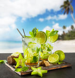 Summer drinks with blur beach on background Stock Photo
