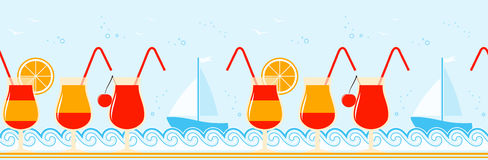 Summer drinks border Stock Image