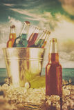 Summer drinks in ice bucket on the beach Royalty Free Stock Photo