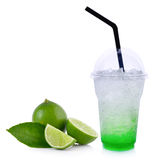 Summer drinks with ice and lime on white background Stock Images