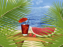 Summer drinks. Illustration of a dream beach, wine and tropical fruits and berries. Paradise beach with palm tree.There is space for text vector illustration