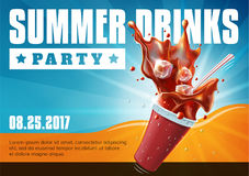 Summer Drinks Party - poster flyer template royalty free stock image
