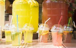 Summer drinks for sale outside Stock Images