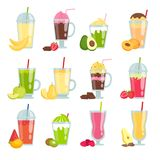 Summer drinks smoothie. Various pictures of fruit juice and smoothie stock illustration