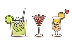Summer drinks in trendy doodle hand drawn style. Vector illustrations with fresh cocktail drinks stock illustration
