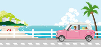 Summer drive in the Seaside street - Mother and son with dog. Vector Illustration stock illustration