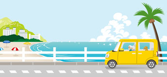 Summer drive in the Seaside street - Senior couple. Vector Illustration stock illustration