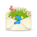 Summer e-mail vector icon. Vector icon - envelope with grass, flowers and butterflies vector illustration
