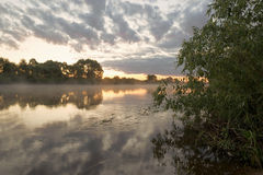 Summer. Early morning. Sunrise. Mirror surface of the pond with a haze of fog. Royalty Free Stock Photo