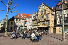 Summer ease in Colmar. Summer ease in the historic center of Colmar, France royalty free stock image