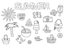 Summer elements hand drawn set. Coloring book template.  Outline doodle Royalty Free Stock Photography