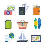 Summer elements. Summer icon set. Travel and vacation elements: tickets, passport, money, travel bag, beach bag, surfboard,  travel guide and others Stock Photos