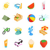 Summer elements icons set, isometric 3d style Stock Photo