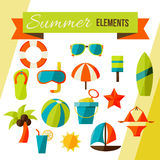 Summer elements isolated on white Royalty Free Stock Photo