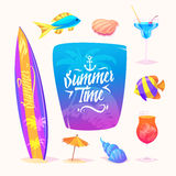 Summer elements  vector illustration. Royalty Free Stock Photo
