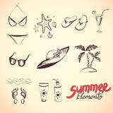 Summer elements for your design. Eps 8 vector illustration Stock Photography