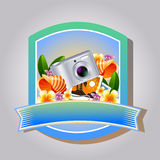 Summer Emblem Camera. Badge in summer theme with beverage and cocktail Royalty Free Stock Images