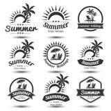 Summer emblem. Summer holidays design elements set. Retro and vintage templates. Labels, Badges,emblem,vector illustration Royalty Free Stock Photography