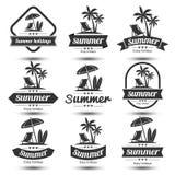 Summer emblem. Summer holidays design elements set. Retro and vintage templates. Labels, Badges,emblem,vector illustration Stock Images