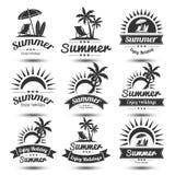 Summer emblem. Summer holidays design elements set. Retro and vintage templates. Labels, Badges,emblem,vector illustration Royalty Free Stock Images