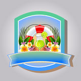 Summer emblem. Label with buoy, drinks, summer flower, suitable for holiday in summer Stock Photo