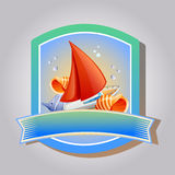Summer Emblem Ship. Emblem or badge in summer theme with ship, fish and shell. eps 10 file, with no gradient meshes,blends,opacity, stroke path,brushes.Also all vector illustration