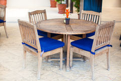Summer empty open air cafe near swimming pool Stock Image