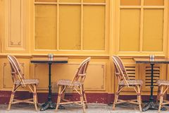 Summer empty open air restaraunt in Europe. Summer empty open air cafe in european city royalty free stock images