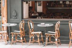 Summer empty open air restaraunt in Europe. Summer empty open air cafe in european city royalty free stock image