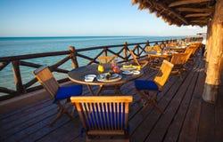 Free Summer Empty Open Air Restaraunt Near Sea At Royalty Free Stock Photography - 32043357