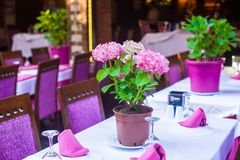 Summer empty open air restaraunt at tourist city.  royalty free stock photo