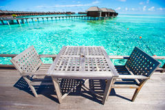 Summer empty open air restaraunt at tropical. Summer empty open air cafe near sea at exotic island stock photo