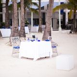 Summer empty open air table set for dinner on Stock Images