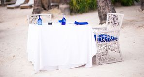 Summer empty open air table set for dinner on Royalty Free Stock Photography