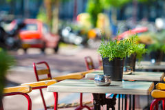 Summer empty outdoor cafe at tourist european city Royalty Free Stock Photography