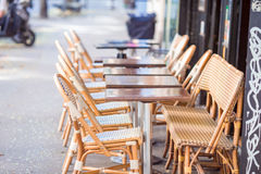Summer empty open air restaraunt in Vatican city in Italy. Closeup wineglasses on the table. Summer empty outdoor cafe at tourist european city royalty free stock photo