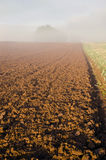 Summer end plowed farm field and fog Royalty Free Stock Images