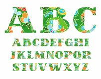 Summer English alphabet, capital letter, vector, font, color. Stock Images