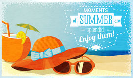 Summer enjoy banner with coconut cocktail, hat and Stock Images