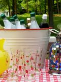Summer Entertainment. Outdoor table with assorted beverages in a party bucket Royalty Free Stock Image