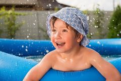 Summer entertainment. Summer vacation. Children in the pool royalty free stock photography