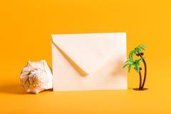 Summer envelope travel postcard theme Royalty Free Stock Image