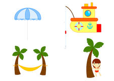 Summer equipment. Illustration about beach and seaside objects and people on white background Royalty Free Stock Photo