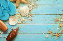 Summer equipment and seashells Royalty Free Stock Photo
