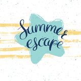 Summer escape wallpaper. Summer escape card, vector illustration for summer holidays with sea star and lettering Royalty Free Stock Photography