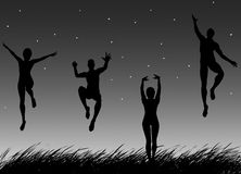 Summer evening. Four young persons having fun in summer at night Royalty Free Stock Images