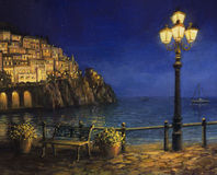 Summer Evening in Amalfi. An oil painting on canvas, of a starry romantic evening at the coast of Amalfi in Italy. Tranquil scene with calm waters, city lights Royalty Free Stock Image