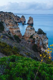 Summer evening Atlantic ocean rocky coast, Portugal. Royalty Free Stock Images
