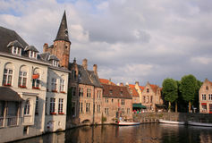 Summer Evening in Bruges. Canal View of Bruges, Belgium royalty free stock image