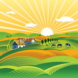 Summer evening landscape. Illustration of a summer evening rural landscape Stock Photography